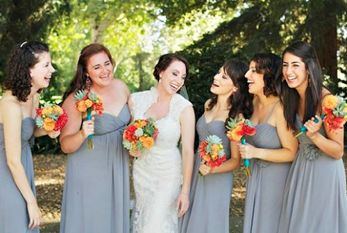 gray wedding colors in bridesmaid dresses