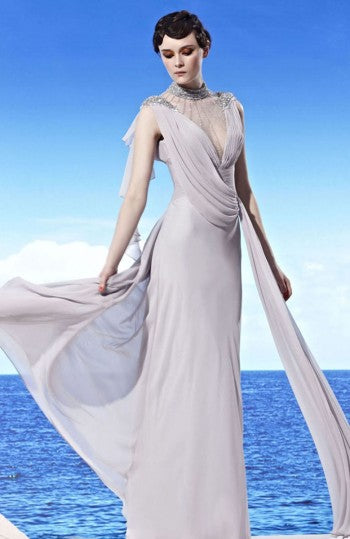 High Illusion Neck Draping Sash Formal Dress, Style Code: 09116, US$274.00