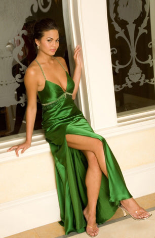 Floor-length Spaghetti Straps Greens Elastic Woven Satin Evening Wear, Style Code: 02030, US$104.00