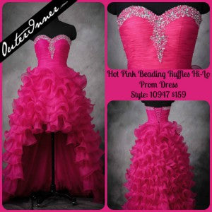 Hot Pink Beading Ruffles Hi-Lo Prom Dress Style Code: 10947