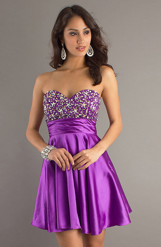 Beading Bodice Pleat Waistband Homecoming Dress, Style Code: 08641, US$99.00