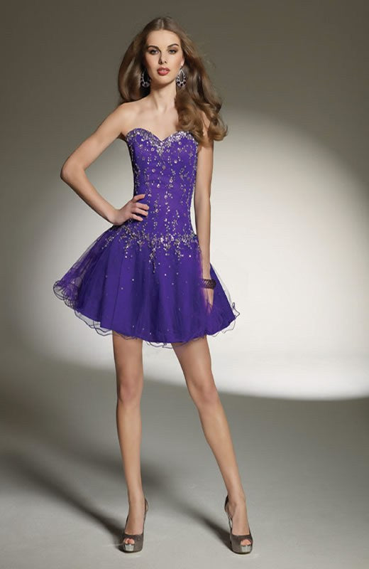 Mini Drop Waist Applique Sweetheart Neckline Homecoming Dresses, Style Code: 09555, US$119.00