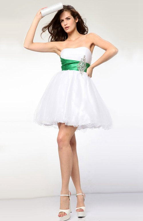 White Strapless Mini Tulle Homecoming Dresses, Style Code: 05991, US$99.00