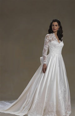 Illusion Long Sleeves V-neck A-line Wedding Gown, Style Code: 08937, US$319.00