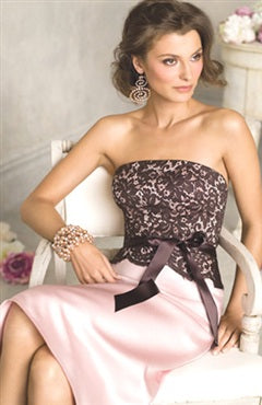 Lace Top Strapless Knee-length Bridesmaid Dress, Style Code: 01043, US$89.00