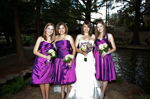 Laurin's bridesmaid dresses and wedding dress