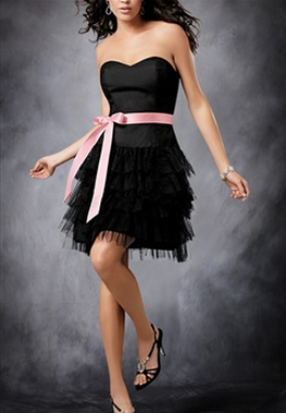 Tiered Skirt Sweetheart with Ribbon Cocktail Dress, Style Code: 08326, $84