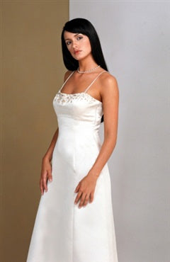 Floor-length White A-line Spaghetti Straps Bridesmaid Dresses, Style Code: 02049, US$74.00