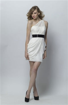 Chiffon White Sheath One Shoulder Mini Bridesmaid Dresses, Style Code: 07465, US$79.00
