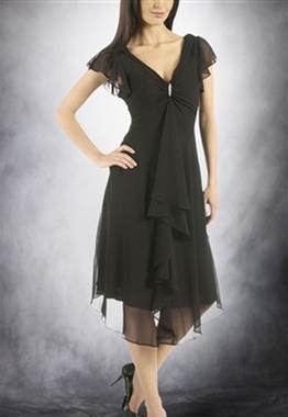 Black V-neck Princess Capped Chiffon Homecoming Dresses, Style Code: 05976, $89