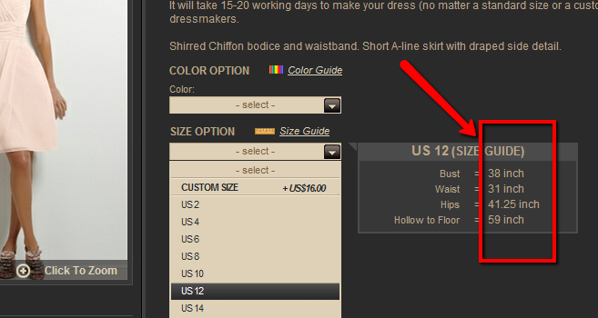 measurements are shown on every dress page
