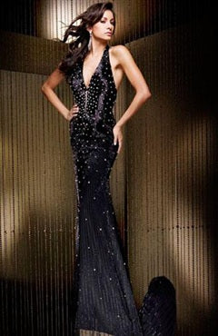 Sweep/ Brush Train Mermaid Sleeveless Halter Black Tie Event, Style Code: 00143, US$145.00