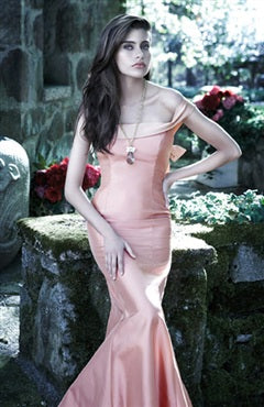 Off-the-shoulder Trumpet/ Mermaid Pinks Floor-length Homecoming Dresses, Style Code: 00034, US$89.00