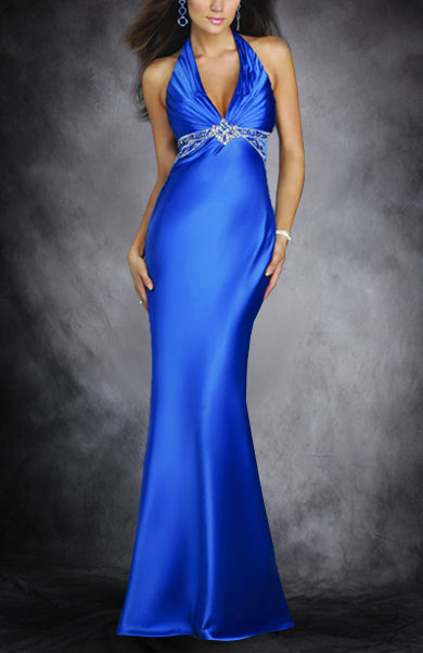 Halter Sleeveless Sweep/ Brush Train Blues Black Tie Event, Style Code: 00654, US$109.00