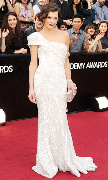 Milla Jovovich in white Ellie Saab Couture dress