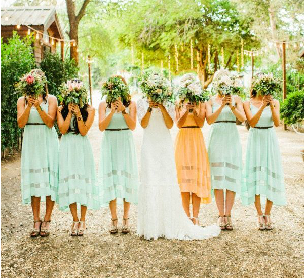 mismatching bridesmaid dresses with maid of honor