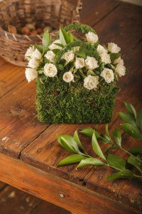 moss basket with flowers