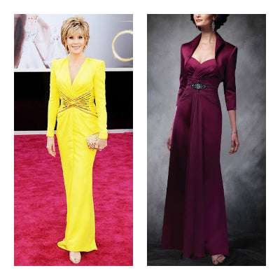 Jane Fonda style Reds A-line Sweetheart Floor-length Satin Mother's Dresses, Style Code: 06047, $129