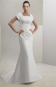 Trumpet/ Mermaid White Square Court Train Wedding Gowns, Style Code: 07021, US$154.00