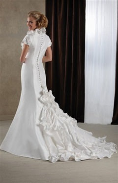 Floral Neckline Trim Back Buttons Mermaid Wedding Gown, Style Code: 06995, US$209.00