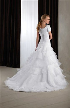Satin & Organza A-line White Chapel Train Scoop Wedding Gowns, Style Code: 07001, US$245.00