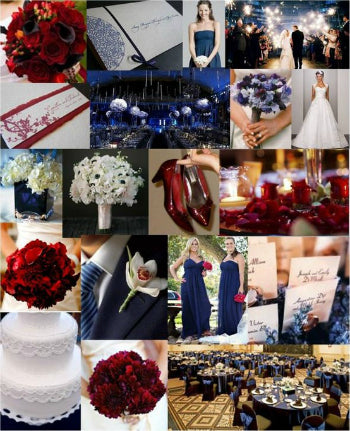 navy and cranberry wedding colors