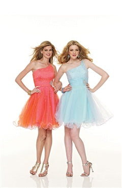 One Shoulder Mini Tulle Homecoming Dresses, Style Code: 05622, US$108.00