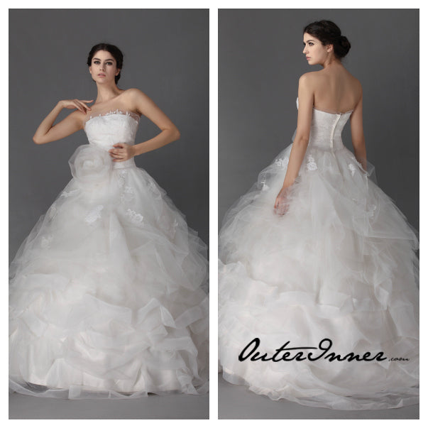 Strapless Tiered Tulle Corsage Wedding Gown Style Code: 12485 $680