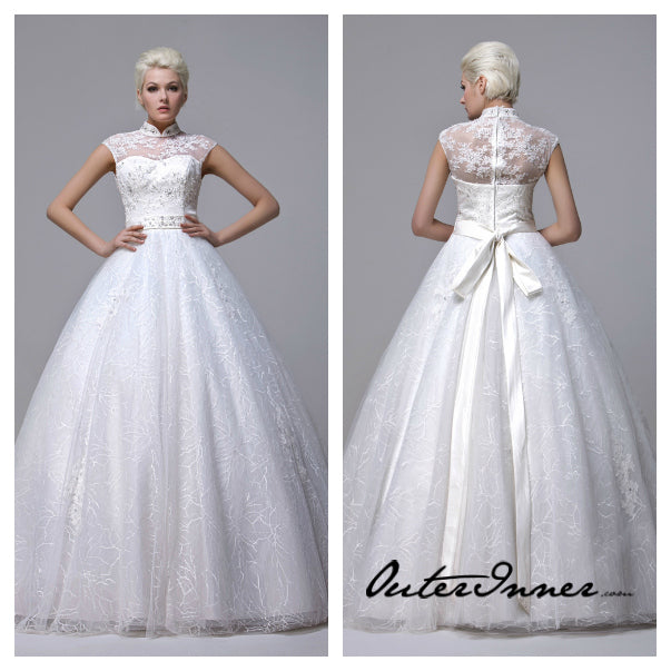 Illusion High Neck Beading Belted Lace Wedding Gown Style Code: 12491 $475
