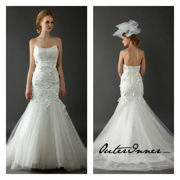 Floral Lace Bodice Glitter Tulle Wedding Gown Style Code: 12523 $499