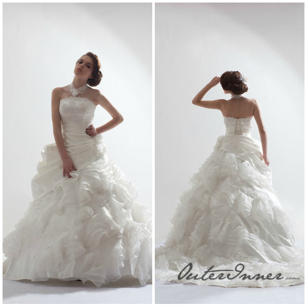 Strapless Draping Tiered Ruffles Applique Detail Wedding Gown Style Code: 12694 $880