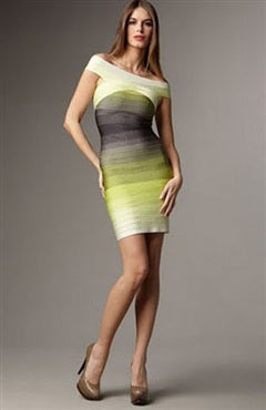 Off-The-Shoulder Ombre Bandage Dress, Style Code: 10392, $64.50