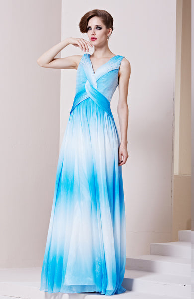 Sheath V-Neck Twisted Floor-Length Ombre Prom Dress, Style Code: 10540, US$211.00