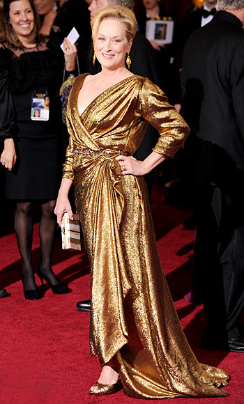 Meryl Streep in gold Lanvin gown