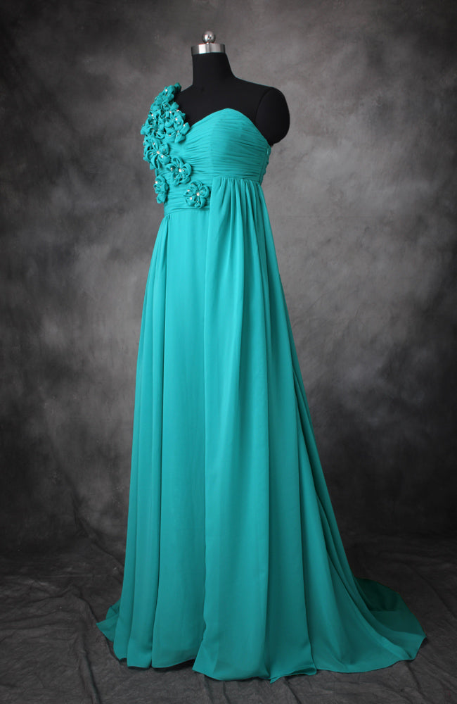Floral Chiffon A-Line Floor-Length Bridesmaid Dress, Style Code: 10513, US$119.00
