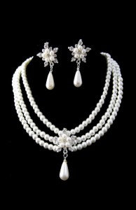 pearl and crystal wedding jewelry set 10628 $17.99