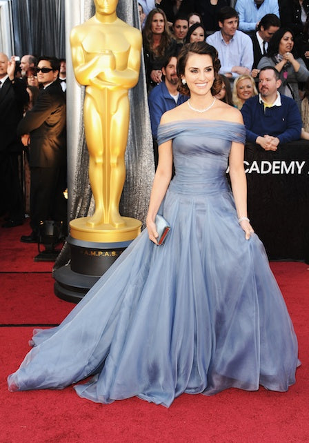 Penelope Cruz in blue Armani dress