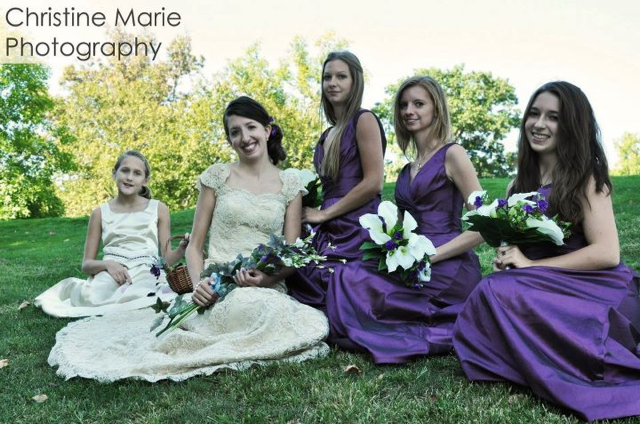 Brittany wedding dress and bridesmaid dresses