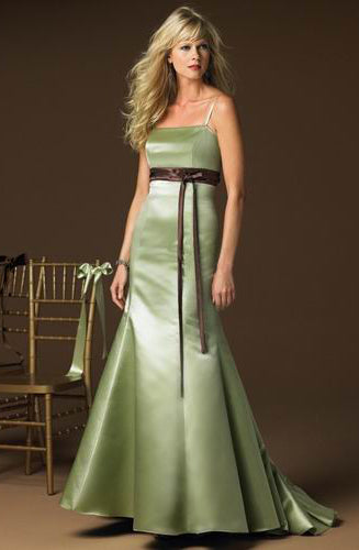 Sweep/ Brush Train Ruffles Spaghetti Straps Princess Bridesmaid Dresses, Style Code: 01960, US$79.00