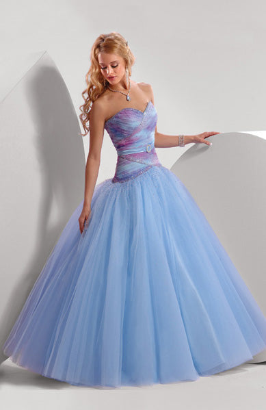 Blues Sweetheart Ball Gown Tulle Prom Dress, Style Code: 00057, US$139.00