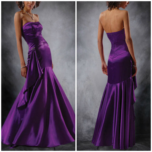 Purples Floor-length Strapless Satin Homecoming Dresses, Style Code: 00070, $99