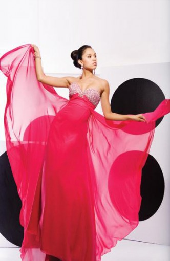Pinks Sweep/ Brush Train Chiffon Beading Black Tie Event, Style Code: 00141, US$129.00