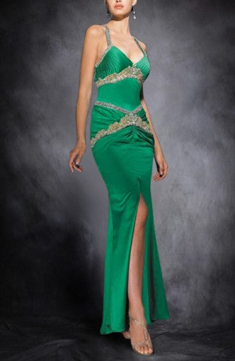 Beading Sleeveless Greens Straps Evening Wear, Style Code: 00258, US$129.00