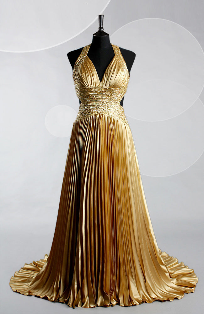 Court Train A-line Halter V-neck Sleeveless Prom Dresses, Style Code: 06656, US$135.00