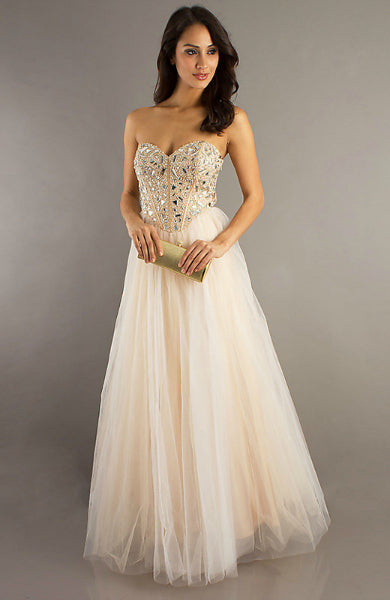 Corset Jeweled Tulle Skirt Prom Dress, Style Code: 08697, US$129.00