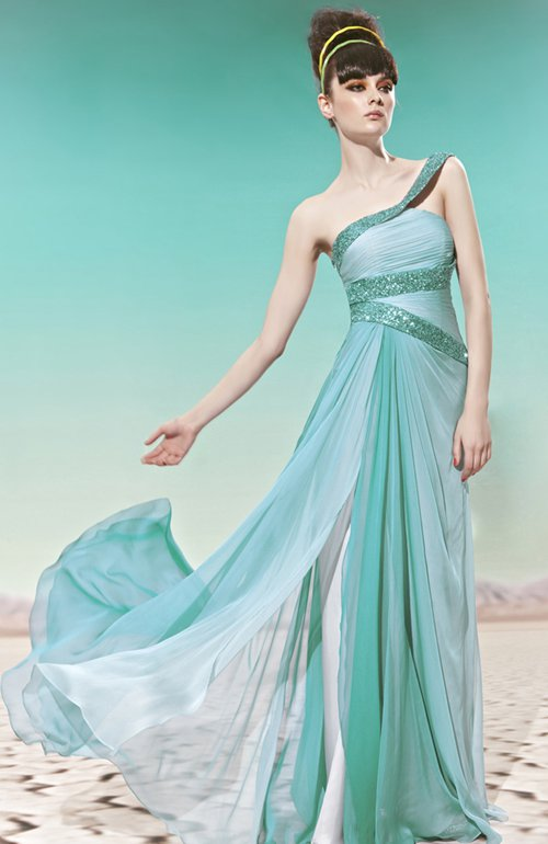 Sequin Belted Asymmestric Goddess Dress, Style Code: 09107, US$224.00
