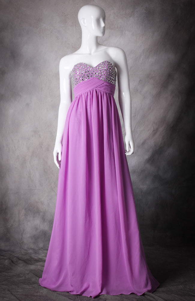 Crystal Bust Pleated Waist Prom Dress, Style Code: 10449, US$132.00
