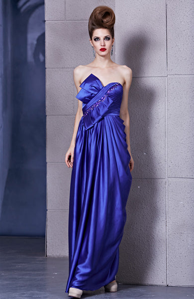Royal Blue Beading Column Elastic Silk-Like Satin Evening Dress, Style Code: 10528, US$164.00