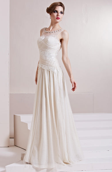 Illusion Bateau Lace Inverted Basque Evening Dress, Style Code: 10544, US$225.00