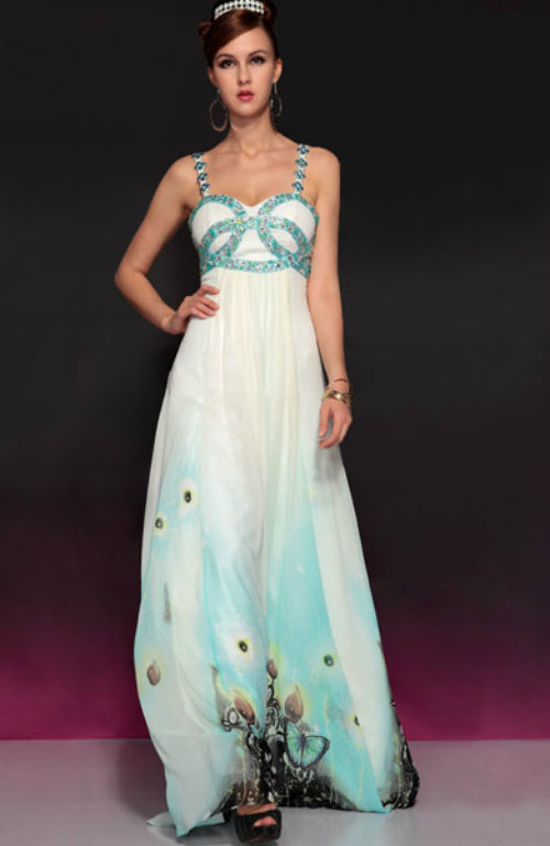 Silk A-Line Twisted Beading Pattern Floor-Length Dress, Style Code: 10727, US$224.00